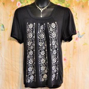 BoHo Black Embroidered  Tunic Top.